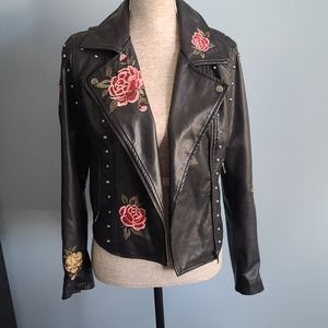 Hippie Laundry Floral Faux Leather Jacket
